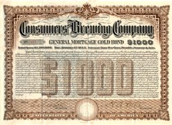 Consumers' Brewing Company $1000 Gold Bond - Erie, Pennsylvania 1903