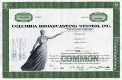 Columbia Broadcasting System, Inc. ( Uncancelled Stock ) - 1970