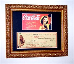 Coca-Cola 1940s SCARCE Check & Advertisement Framed