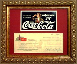 Coca-Cola Antique Check & Advertisement Framed 1951