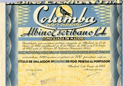 Columba Cafes Y Chocolates (Albino Escribano S.A.)  - Madrid,  Spain 1943