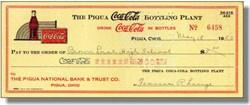 Coca Cola Bottling Company Check 1950's - Piqua, Ohio