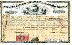 Columbus, Chicago, And Indiana Central Railway - Issued to and signed by James Alfred Roosevelt, Ohio 1869