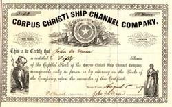 Corpus Christi Ship Channel Company - New York 1859