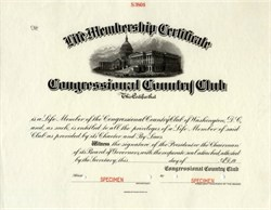 Congressional Country Club Membership Certificate - Washington D.C. 1933