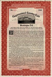 Congressional Country Club Rare Uncancelled Gold Bond  - Washington D.C.  1928