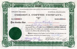 Cordova Copper Company - Arizona 1909