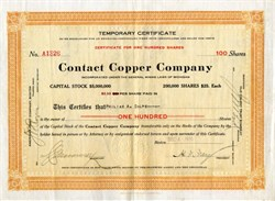 Contact Copper Company - Rare - Michigan 1915