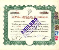 Compania Continental De Inversiones - Guayaquil, Ecuador 1955
