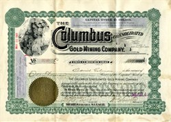 Columbus Consolidated Gold Mining Company signed by William Sauntry - Black Hills, South Dakota - 1907