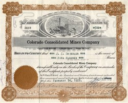 Colorado Consolidated Mines Company - Tintic District, Utah 1929