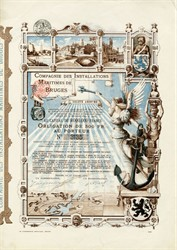 """Compagnie Des Installations Maritimes De Bruges (Home of """"In Bruges"""", The Movie with Colin Farrell)  1909 - Most Beautiful Certificate"""