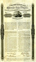 Confederate Erlanger Cotton Bond �00 (Scarce Denomination) , (Fr25,000 ) or 40000 lbs of cotton 1863 signed by Emil Erlanger and John Slidell - Ball #160