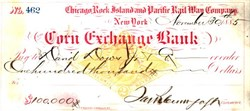 Corn Exchange Bank Check with IRS Stamp - (Chicago, Rock Island and Pacific Railroad) - New York, 1885