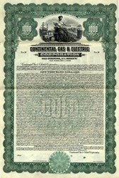 Continental Gas & Electric Corporation Gold Bond - Delaware 1928