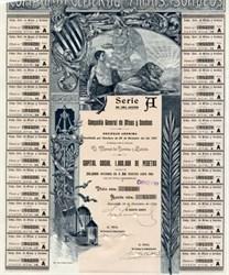 Compania General de Minas y Sondeos ( Man, Lion, Angel Vignette)- Barcelona, Spain 1901