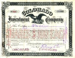 Colorado Investment Company ( Owned the Sovereign Mining Company in Colorado)  - Inc. in New York 1885