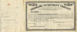 Colorado Investment Company - Colorado 1885
