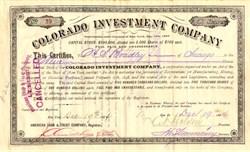 Colorado Investment Company - Colorado 1884