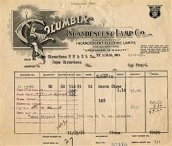Columbia Incadescent Lamp Co. - St. Louis, Missouri 1910