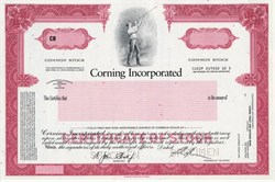 Corning Incorporated (Corning Glass Company) Glass Blower Vignette - Specimen Stock Certificate - New York