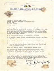 Comite International Olympique (International Olympic Committee ) signed by Avery Brundage  - 1959