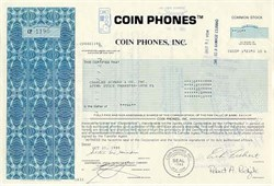 Coin Phones, Inc. Stock Certificate (Pre Smart Phone)  -  New York, 1987
