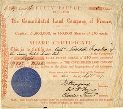 Consolidated Land Company of France - England 1867
