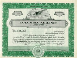 Columbia Airlines - Baltimore, Maryland 1920's