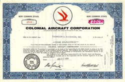 Colonial Aircraft Corporation Stock 1969 - New York ( Became Flying Boat maker Lake Aircraft )