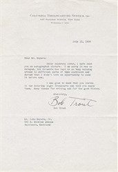 Columbia Broadcasting Systems, Inc. Letter signed by Bob Trout 1939