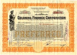 Colonial Finance Corporation (Minuteman Solider Vignette) - Delaware 1927