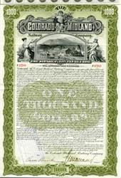Colorado Midland Railway Company Gold Bond -1897