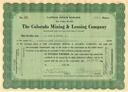 Colorado Mining & Leasing Company 1922