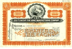 Colt's Patent Fire Arms Manufacturing Company hand signed by Samuel M. Stone as President - 1939