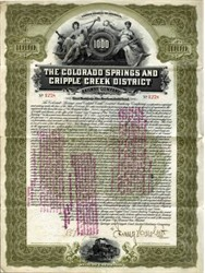 Colorado Springs and Cripple Creek District Railway Company 1902 - SCARCE Gold Bond