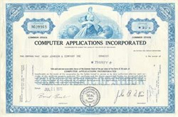 Computer Applications Incorporated (CAI) Stock Certificate - 1970