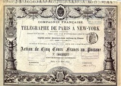 New York to Paris Telegraph Cable Company - 1879