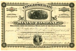 Conglomerate Mining Company - Keweenaw District, Michigan 1884