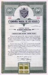 Compania Minera de Los Azules 1936