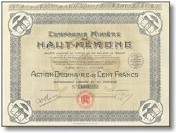 Compagnie Miniere du Haut - Mekong ( Mining Company of Mekong )