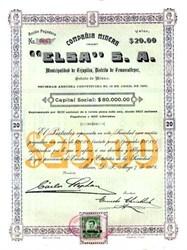 Compania Minera Elsa S.A. 1908 - Distrito de Temascalteper, Mexico