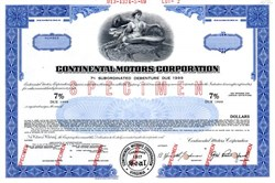 Continental Motors Corportation ( Specimen bond certificate ) - Virginia 1969