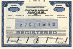 Countrywide Collateralized Mortgage Obligations CMOs -  (Sub Prime CMO's were at the center of the collapse of the housing market and the financial system in 2008) - 1986