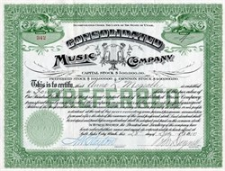 Consolidated Music Company signed by Royal W. Daynes - Utah 1910