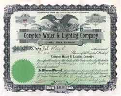 Compton Water & Lighting Company 1922 - Los Angeles, California