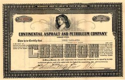Continental Asphalt and Petroleum Company 1921 signed by Houston Benge Tehee (Was U.S. Register of the Treasury)