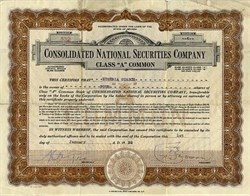 Consolidated National Securities Company - Nevada 1930