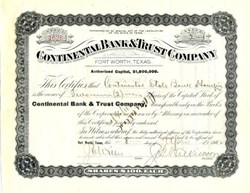 Continental Bank & Trust Company 1912 - Fort Worth, Texas