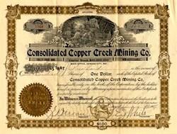 Consolidated Copper Creek Mining Co.1910 - Yavapai. Mayer, Arizona